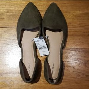 NWT Army Green Olive Pointed Flats